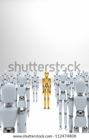 Golden mannequin standing out between white mannequins
