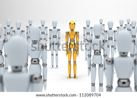 Golden mannequin standing out from the crowd of white mannequins