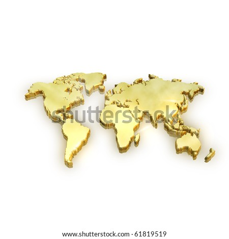 Golden Map - Global Business and success concept - stock photo