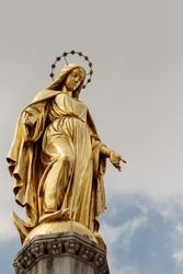 Golden Mary (mother of Jesus) on column