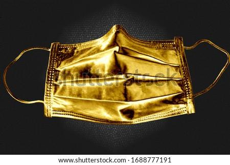 Golden mask COVID virus pandemic. price of health