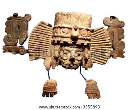 Golden mask of aztecs in museum of Tenochtitlan (Mexico)