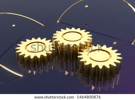 Golden mechanical gears - illustration. Steampunk - Gear Cogwheels 3d render.   Pedestal exhibition. Winner stand in competition creation of robotics. Shop podium template for goods.