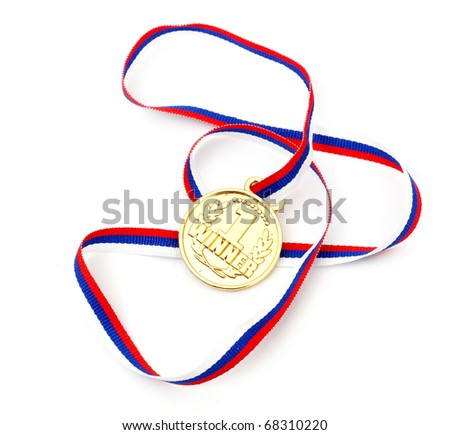 Golden medal and ribbon isolated on white background