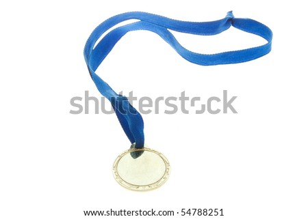 Golden medal isolate on white - stock photo