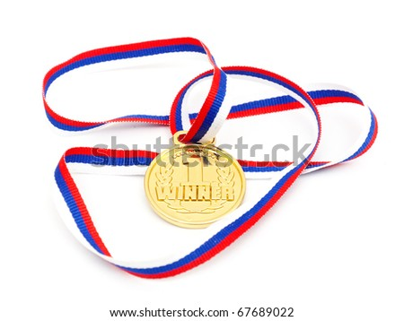 Golden medal whith ribbon isolated on white background