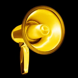 Golden megaphone black background isolated closeup, gold metal loudspeaker, loudhailer, speaking trumpet, bullhorn, announcement symbol, sound sign, attention, warning icon, advertisement illustration