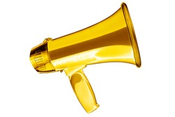 Golden megaphone white background isolated closeup, gold metal loudspeaker, loudhailer, speaking trumpet, bullhorn, announcement symbol, sound sign, attention, warning icon, advertisement illustration
