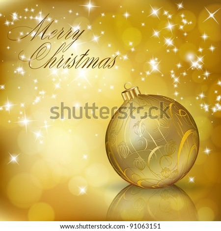 Golden Merry Christmas greeting card. Raster copy of vector illustration