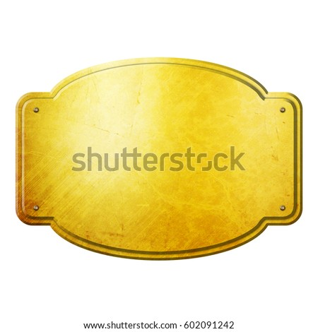 Old Golden Plates And Signboards Stock Photo 67896724