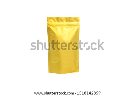Golden metalized pouch bag isolated on white background. Blank foil packaging template mockup with clipping path included. Aluminium metallic coffee and tea package with zipper. #1518142859