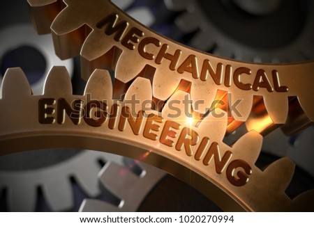 Golden Metallic Gears with Mechanical Engineering Concept. Mechanical Engineering - Illustration with Glow Effect and Lens Flare. 3D Rendering.