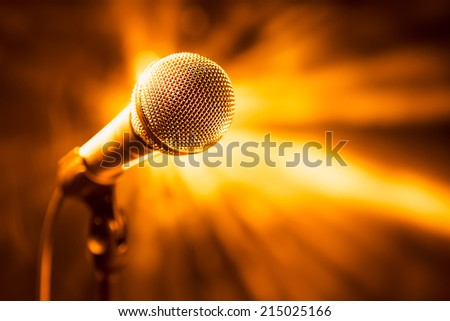 golden microphone on stage #215025166