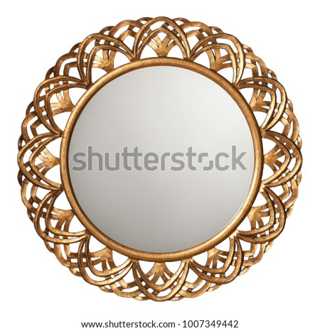 Golden  mirror frame isolated on white #1007349442