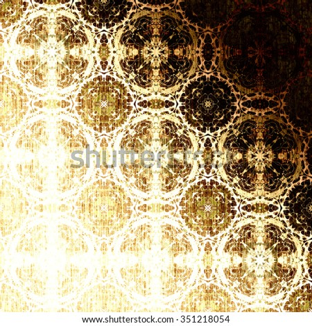 Golden morocco openwork pattern with traditional elements. Festive Christmas background, metallic foil. Royal damask texture for textile, wallpapers, advertisement, page fill, book covers etc.