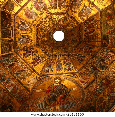 Golden mosaic in baptistery of Santa Maria dei Fiore in Florence, Italy