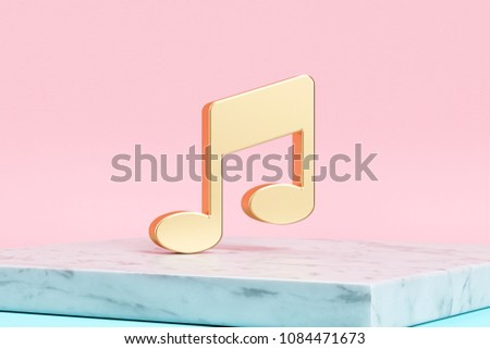 Golden Music Note Icon on Pink Background . 3D Illustration of Golden Notes, Music, Audio Icons on Pink Color With White Marble.
