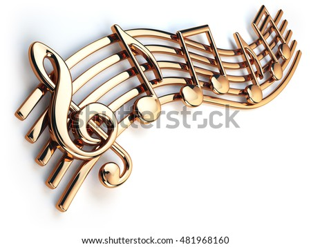 Golden music notes and treble clef on musical strings isolated on white. 3d illustration #481968160