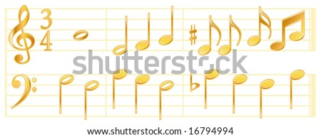 Golden Music Notes on White Background with treble and bass clefs, time signatures, sixteenth, eighth, half, quarter and whole notes, sharps and flats on music staffs.
