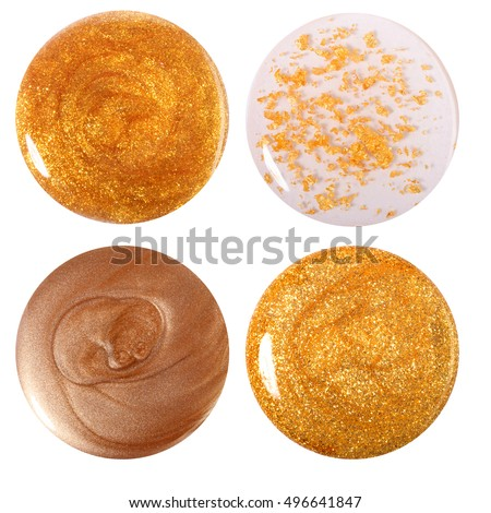 Golden nail polish drop set. Isolated on white  #496641847