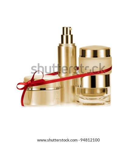 Golden nameless beauty set gift on white background