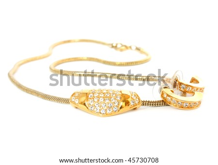 golden necklace and ear-rings