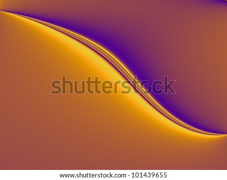 Golden Nematode - Digital abstract image with a curved shape design in gold and purple.