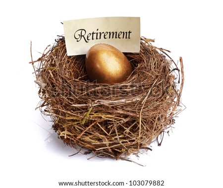Golden nest egg concept for retirement savings