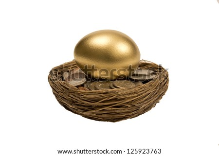 Golden Nest Egg Laying On Coins Isolated On White