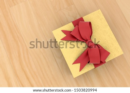 Golden new year or Christmas gift box with red ribbon for celebration concept on wooden board. with empty space for text and design, 3d illustration with clipping mask.