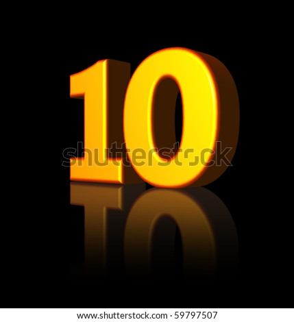 golden number ten on black background - 3d illustration