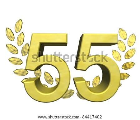 golden number 55 with laurel wreath