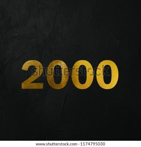 Golden 2000 Number Write On The Dark Wall Background. Golden 2000 Number Logo. 3D İllustration. #1174795030