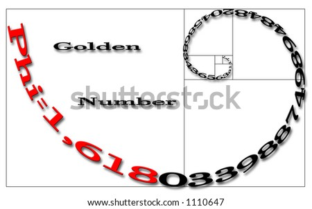 golden number written on a logarithmic spiral