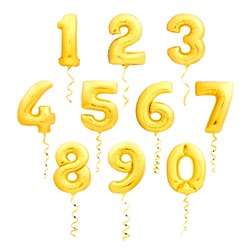 Golden numbers made of inflatable balloons with golden ribbons isolated on white background