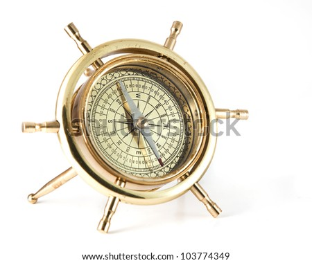 Golden old  compass over white background