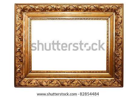 golden old frame isolated on white (clipping paths included)