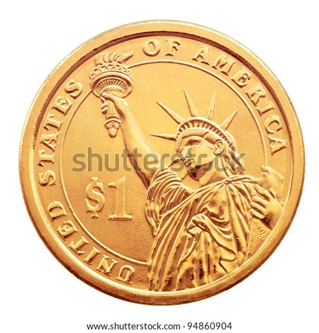 Golden one dollar coin, isolated on the white background.