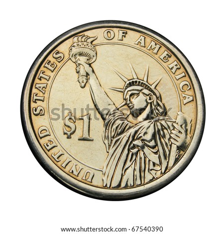 Golden one dollar coin with Statue of Liberty. Coin is isolated over white.