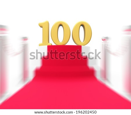Golden One Hundred On Red Carpet Displaying Movie Industry Anniversary And Recognition