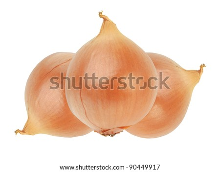 golden onions isolated on white background