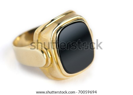 golden onyx ring isolated against a white background