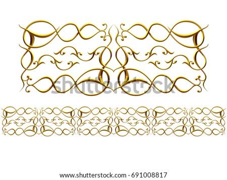 "golden, ornamental segment,""Abraham"", straight version for frieze, frame or border. 3d illustration, separated on white"