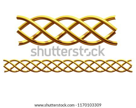 "golden, ornamental segment, ""helix"", straight version for frieze, frame or border. 3d illustration, separated on white"