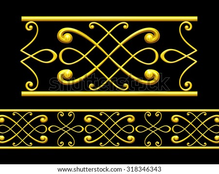 "golden ornamental segment, ""Munich"", straight version for frieze, frame or border"