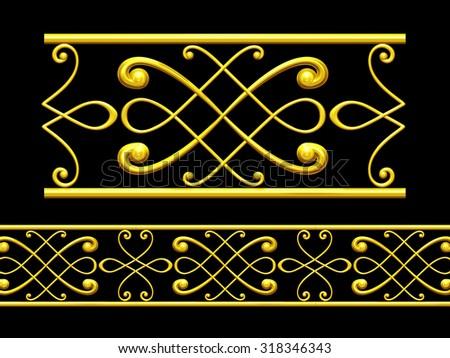 "golden ornamental segment, ""Munich"", straight version for frieze, frame or border"