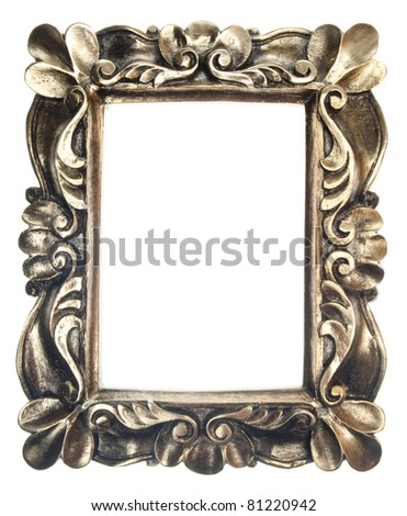 Golden Ornate Frame Isolated on White with a Clipping Path.