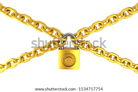 Golden padlock and chain isolated on white background. Security concept. High quality 3D rendering. stock photo