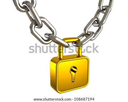 golden padlock as a strong link of metal chain