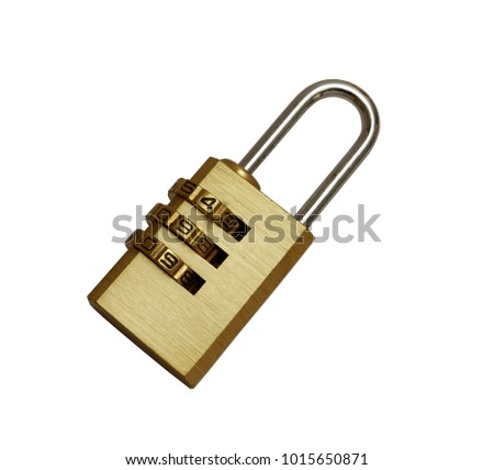 Golden padlock with pass-code,combination padlock isolated on white background,top view #1015650871